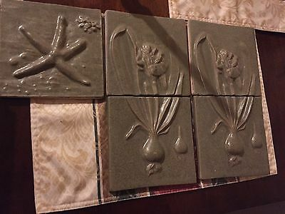 "Vintage Handmade Terra Cotta  7"" x 7"" Tiles - Hand Painted  - Lot of 5"
