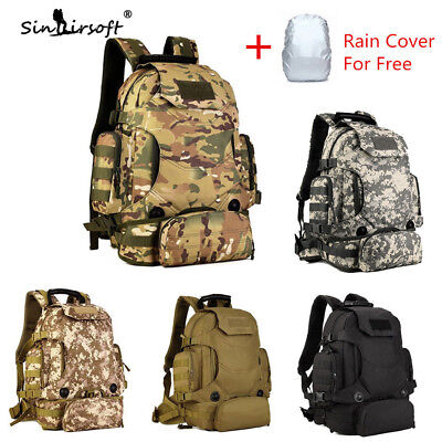 45L Military Molle Backpack Tactical Rucksack Shoulder Bag Hiking Trekking Nylon