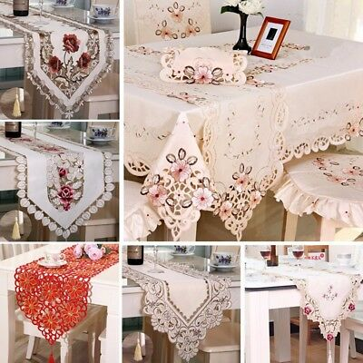 🇬🇧 Vintage Floral Embroidery Tassel Edges Table Runner Cover Cloth Home Decor