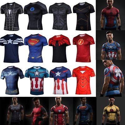 3D Comic Superhero Gym Sports Compression T-shirt Outdoor Running Bicycle Jersey