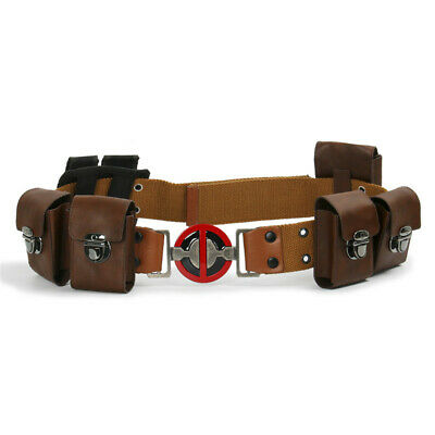 Deadpool Movie Cosplay Belt with Metal Buckle with Pockets Costume Props