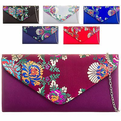 Ladies Floral Satin Clutch Bag Ethnic Flower Evening Bag Girl Prom Handbag KZ872
