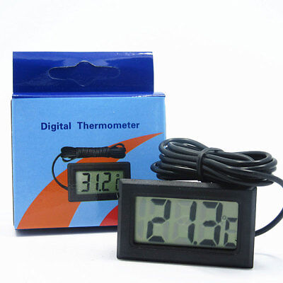 Digital LCD Fish Tank Aquarium Thermometer With Waterproof Probe Black