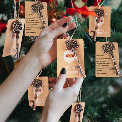 10pc Xmas Tree Ornaments Santa Magic Key Blank Tag Christmas Party Hanging Decor