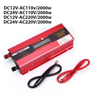2000W Cars Vehicle Aluminium Alloy Solar Inverter Adapter W/ LCD Display