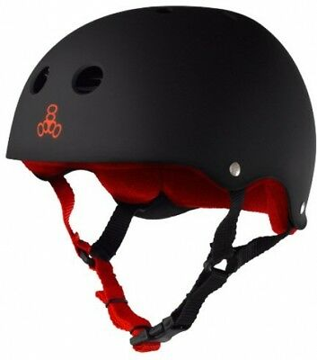 Triple Eight Helmet With Sweatsaver Liner, Black Rubber/Red, X-Small