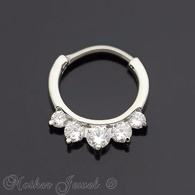 18G SILVER SURGICAL STEEL SIMULATED DIAMOND ANNEALED BENDABLE HOOP EAR NOSE RING