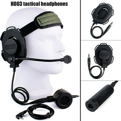 New PTT Z Tactical Bowman Elite II Military Headset Mic for Kenwood 2 Pin Radio