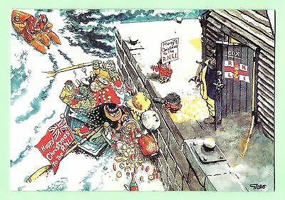 Giles Christmas Card - RNLI -2017 - Granny in boat delivering Christmas dinner
