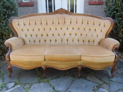Sand Coloured Velvet French Antique Style Shabby Chic 3 Seat Sofa Settee Couch