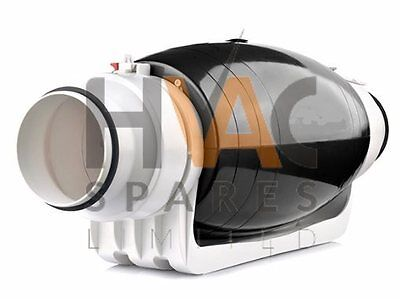Quality Ultra Quiet Silent Inline Duct Extractor Fan 100/125mm 4/5″ 230v 2Speed
