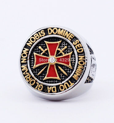 free shipping unique stainless steel knights templar ring jewelry with high q...