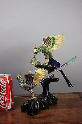 20th C. 80's Chinese Cloisonné Enameled Group Of Pheasants
