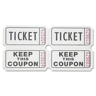 Sparco Ticket Roll, Double w/Coupon, 2000/RL, White 99210