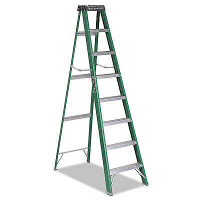 Louisville #592 Folding Fiberglass Step Ladder 8 ft 7-Step Green/Black FS4008