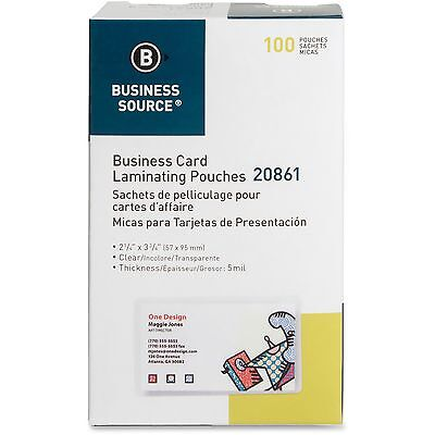 "Business Source Laminating Pouch Bus Card 5Mil 2-1/4""x3-3/4"" 100/BX CL 20861"