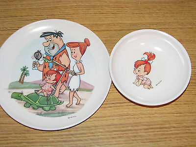 Vintage Flintstones Melmac Plate and Bowl Set