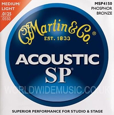 Martin MSP4150 Phosphor Bronze Light Medium Acoustic Guitar Strings  .125 - .550