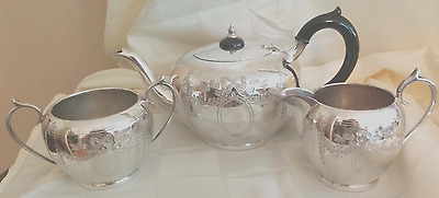 Beautiful Etched Barker Brothers Silverplated Tea Set