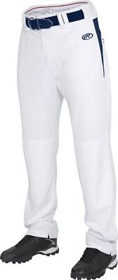 (2X, White/Navy) - Rawlings Men's Semi-Relaxed Pants with Waist Inserts