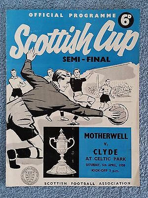 1958 - SCOTTISH CUP SEMI FINAL PROGRAMME - MOTHERWELL v CLYDE