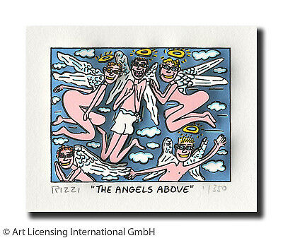 "Original James Rizzi 3 D Bild ""THE ANGELS ABOVE"" NEU  mit original Zertifikat"