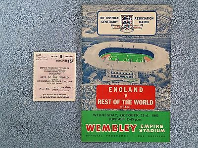 1963 - ENGLAND v REST OF THE WORLD PROGRAMME + MATCH TICKET - FRIENDLY