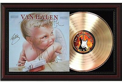 Van Halen - 24k Gold LP Record With Reprint Autographs In Cherry Wood Frame