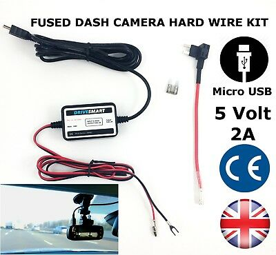 Universal Dash Cam Hardwire Hard Wire Kit With MICRO USB Input Fits Garmin