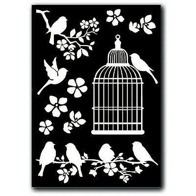 1 Rub on Deco Transferbogen - cage and birds DIN A5 DFTD02