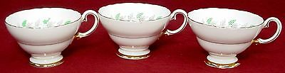 CROWN STAFFORDSHIRE china CRS99 pattern CUP & SAUCER Set of THREE (3)