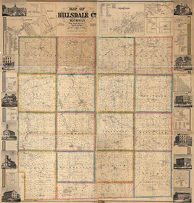 1857 Farm Line Map of Hillsdale County Michigan Jonesville LARGE 40 x 42