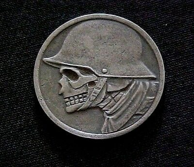 1918 Skull WWI German Soldier Helmet Stadt Duren HOBO NICKEL Folk Art OHNS 1304