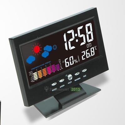 Electronic Color LCD Digital Thermometer Hygrometer Alarm Clock Voice Control