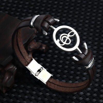 2017 new fashion Design Musical notes Genuine Leather Bracelet For Women Men ...