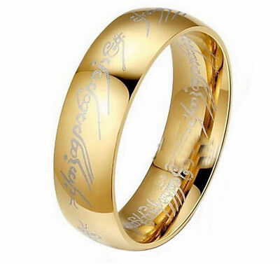6MM Hot Movie men's finger Rings lord Titanium Stainless Steel gold  of the R...