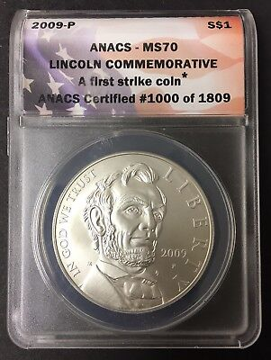 2009-P Lincoln Commemorative Silver Dollar Anacs Ms70 - First Strike Coin #1000