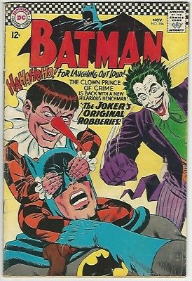 Batman (1940) #186 3.5 Vg- The Jokers Original Robberies Dc Comics