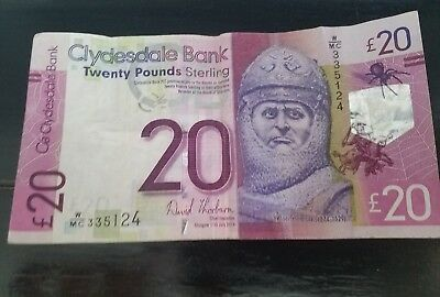 Twenty pounds sterling: Clydesdale bank Robert the Bruce 2014