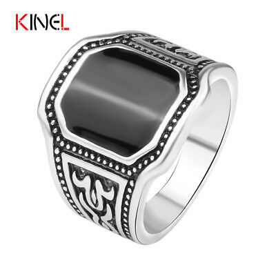 Plated Silver Black Cut Ring Men Cool Ox Totems Steampunk Charms Jewelry Vint...
