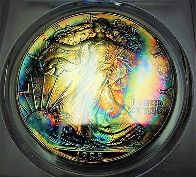 1988 American Silver Eagle Pcgs Ms66 Stunningly Toned Rainbow Ase