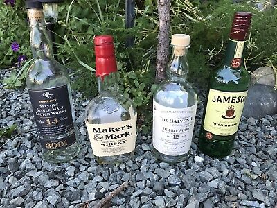 4 Empty Bottles Whiskey Jameson Balvenie Makers Mark Trader Joes Speyside Scotch