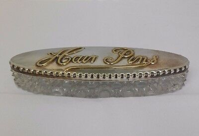 Antique Edwardian Glass and Silver Plate Hair Pin Dish