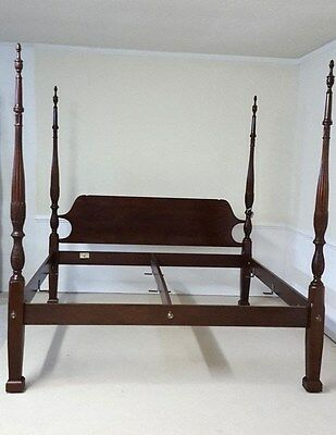 Craftique King Bed Wheat Carved  Mahogany Handmade Poster
