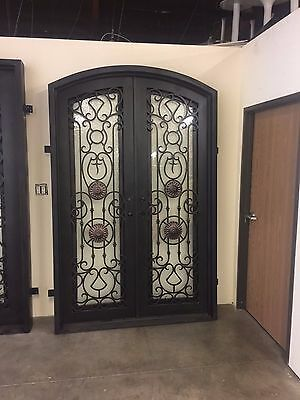 "WROUGHT IRON ENTRY DOOR 61.5""W x 96""H RIGHT IN SWING WITH RAIN GLASS - IN STOCK"