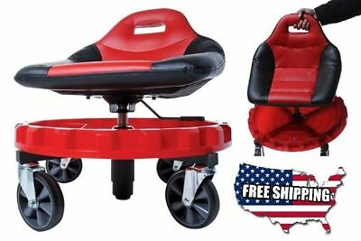 Mobile Seat Mechanic Gear Tool Garage Low Chair w/ Tray Rolling Creep Work Car
