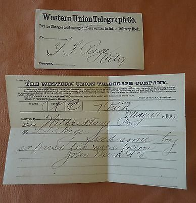 Antique 1884 Western Union Telegram & Envelope Rare Paper Ephemera