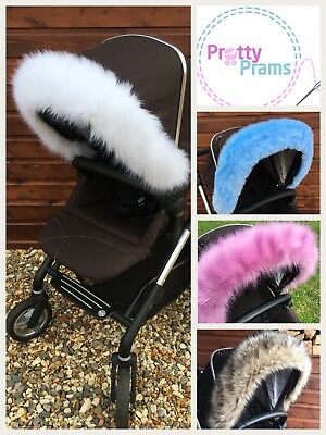 Pram Pushchair Hood Fur Trim, Bugaboo, Icandy, Stokke, Icandy, Silver Cross,