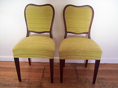 Vintage Chairs x 2 - Wooden & Upholstered - Dining / Occasional / Bedroom