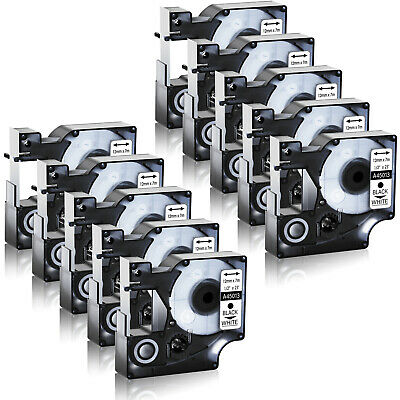 10PK 12mm Black on White Label Tape For Dymo D1 45013 LabelManager 160 200 1/2''